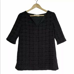 MM Lafleur Milford Top Black Onyx Tweed Size XS